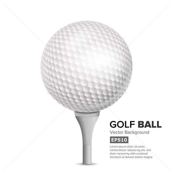 Golf Ball On White Tee. Vector Stock photo © pikepicture