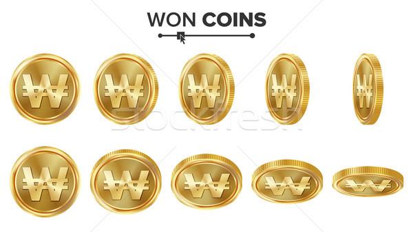 3D arany érmék vektor szett valósághű illusztráció Stock fotó © pikepicture