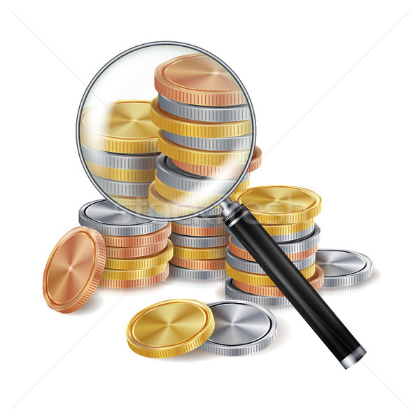 Magnifier And Coin Vector. Metal coins. Success Finance Banking Illustration Stock photo © pikepicture