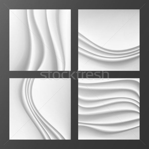 Wavy Silk Abstract Background Vector. Abstract Wavy Silk Backgrounds Set In White Or Silver Color. R Stock photo © pikepicture