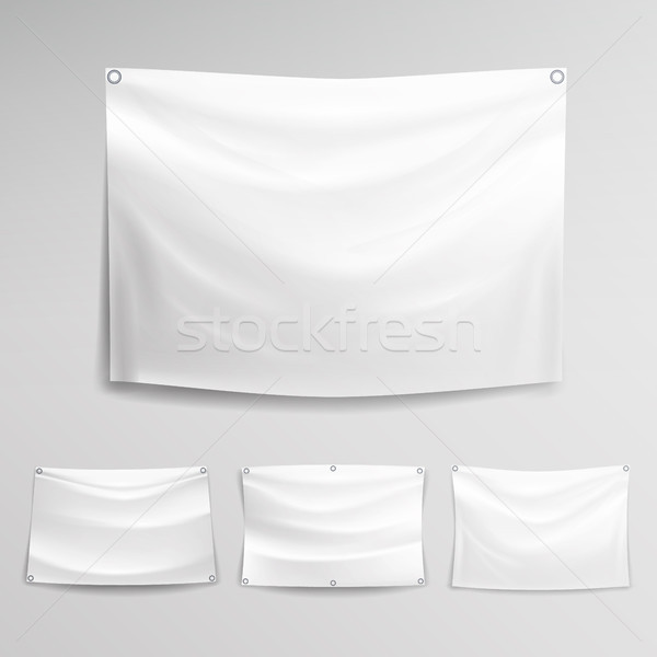 White Banner Set Vector. Horizontal Hanging Banners Mock Up Textile, Fabric Or Nylon. Stock photo © pikepicture