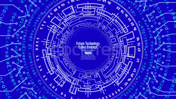 Abstract Futuristic Technological Background Vector. Security Print. Blue Electronic Network. Digita Stock photo © pikepicture