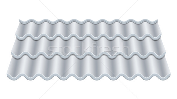 Grey Corrugated Tile Vector. Classic Ceramic Tiles Cover. Fragment Of Roof Illustration. Stock photo © pikepicture