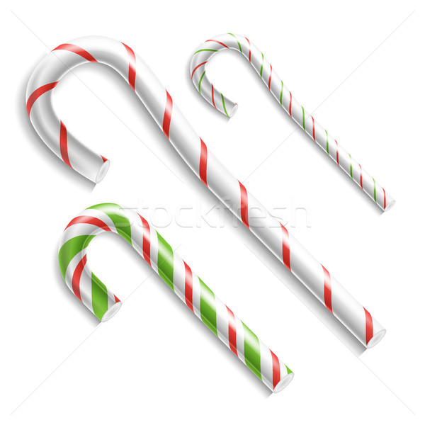Candy Cane Vector. Christmas Candy Cane. Realistic Set Isolated. Top View. Xmas Banner And New Year  Stock photo © pikepicture