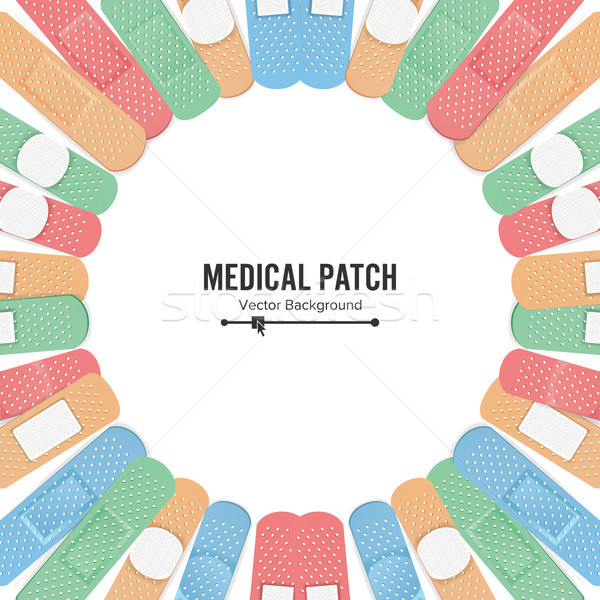 Medical Patch Vector. First Aid Band Plaster Strip Medical Patch Icon Set. Two Sides. Different Plas Stock photo © pikepicture