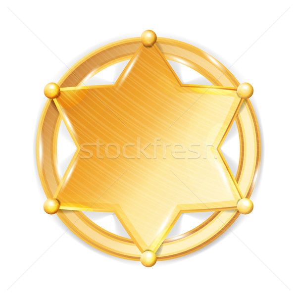 Sheriff Badge Star Vector. Police Golden Hexagonal Star Icon. Stock photo © pikepicture