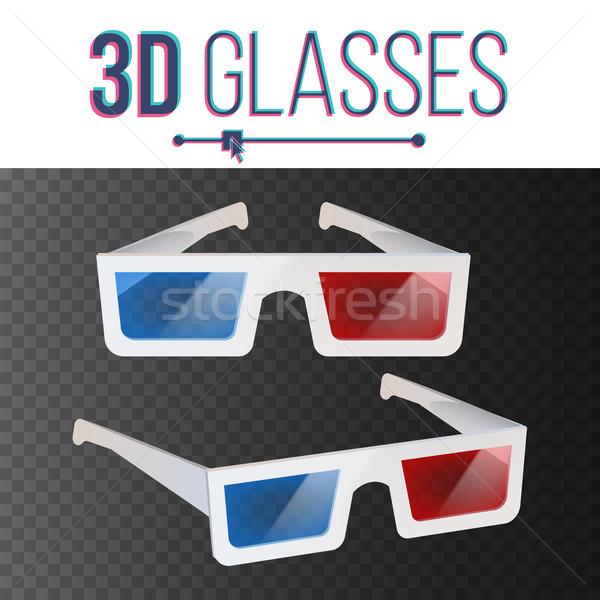 óculos 3d vetor vermelho azul papel cinema Foto stock © pikepicture