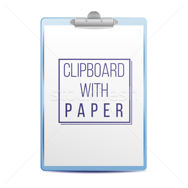Realistic Clipboard Vector. A4 Size. Top View. Isolated On White Illustration Stock photo © pikepicture