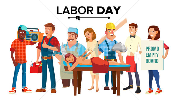 Labor Day Vector. Group Of People. Employee Collection. Flat Isolated Cartoon Illustration Stock photo © pikepicture