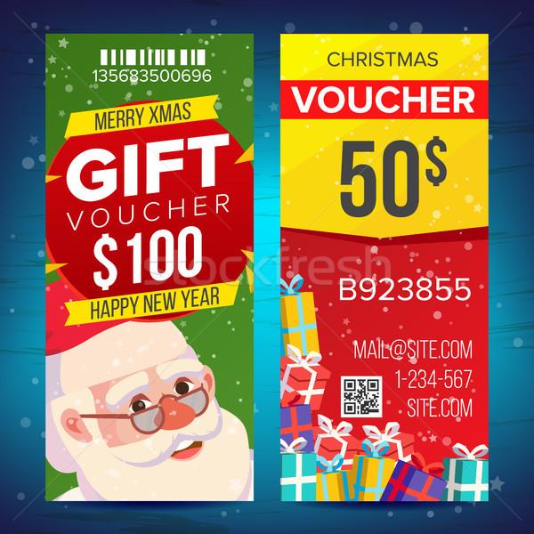 Karácsony utalvány sablon vektor függőleges kártya Stock fotó © pikepicture