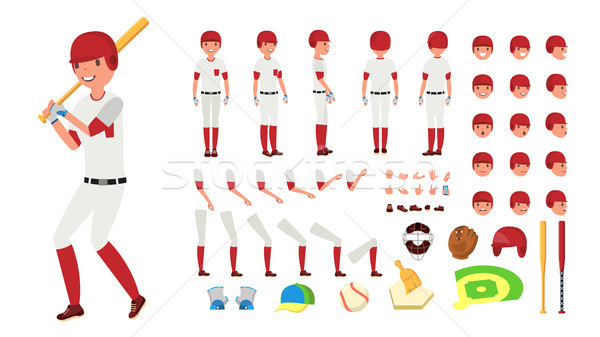 Baseball Player Vector. Animated Character Creation Set. American Base Ball Tools And Equipment. Ful Stock photo © pikepicture