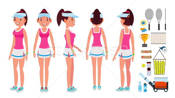 Girl Tennis Player Vector. Sport Uniform. Players Playing With Tennis Racket. In Action. Isolated Fl Stock photo © pikepicture