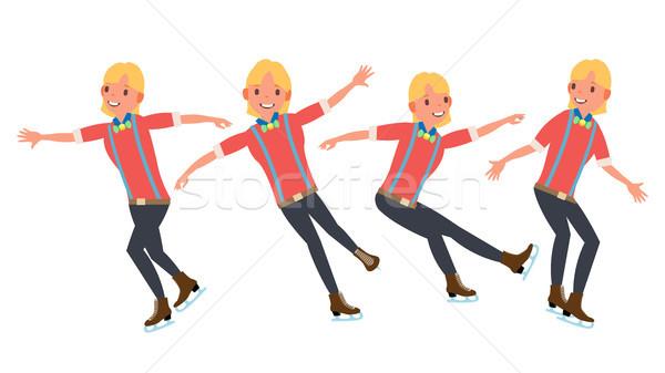 Man atleet figuurschaatsen ijs cijfer skater Stockfoto © pikepicture