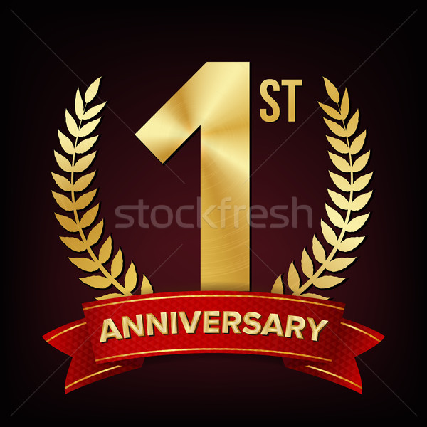 1 Anniversary Banner Vector. One Year Age, First Celebration. Shining Digit Sign. Gold Number One. L Stock photo © pikepicture