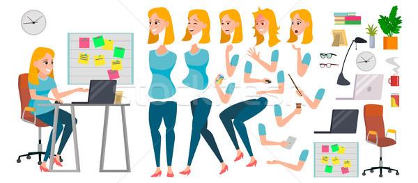 Business Woman Character Vector. Working Female Girl Boss. Start Up. Office. Girl Developer. Animati Stock photo © pikepicture