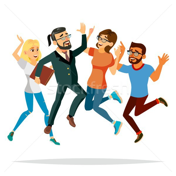 Stock photo: Business People Jumping Vector. Celebrating Victory Concept. Attainment. Objective Attainment, Achie