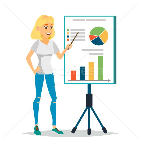 Financial Consultant Vector. Business Woman, Blackboard. Professional Support Research Graphs Market Stock photo © pikepicture