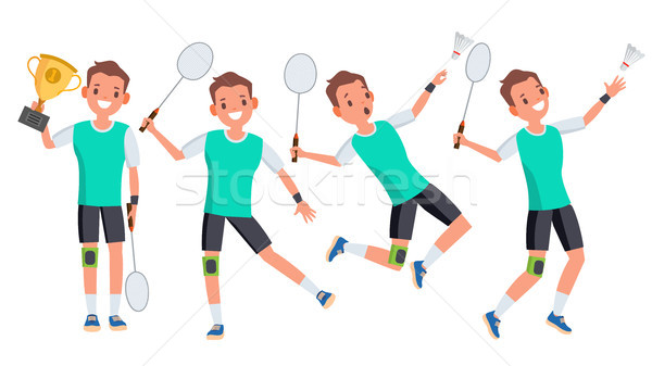 Badminton Male Player Vector. Playing In Different Poses. Man Athlete. Isolated On White Cartoon Cha Stock photo © pikepicture