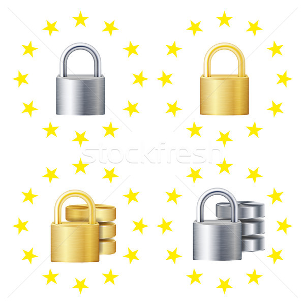 GDPR Sign Set Vector. Padlock. Security Technology. General Data Protection Regulation. Internet Reg Stock photo © pikepicture