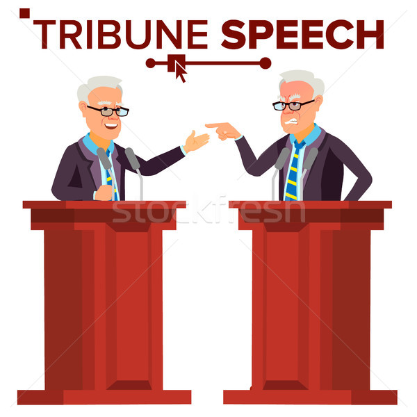 Speaker Man Vector. Businessman, Politician Giving Speech. Rostrum. Candidate. Isolated Flat Cartoon Stock photo © pikepicture