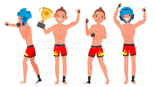 MMA Young Man Player Vector. Man. Fighters Fighting. Training Club. Poses Set. Flat Athlete Cartoon  Stock photo © pikepicture