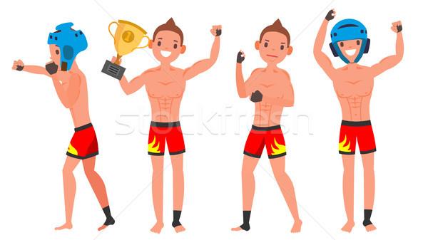 Genç oyuncu vektör adam kavga eğitim Stok fotoğraf © pikepicture
