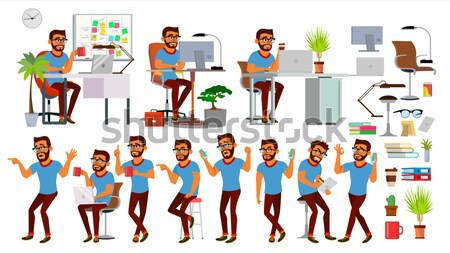 Business People Doing Paperwork Vector. Office Workers. Very Busy Day. To Excessive Work. Accounting Stock photo © pikepicture