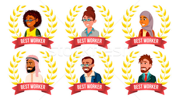 Best Worker Employee Set Vector. Man, Woman. Arab, Turkish, European, Afro American. Award Of The Ye Stock photo © pikepicture