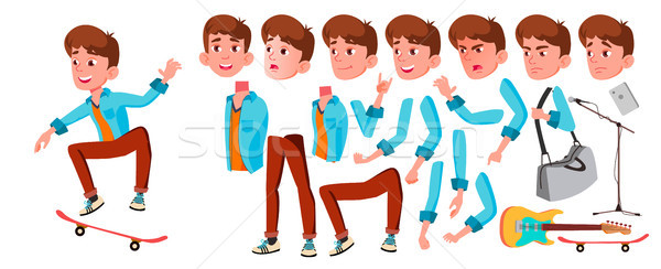 Teen Boy Vector. Animation Creation Set. Face Emotions, Gestures. Caucasian, Positive. Animated. For Stock photo © pikepicture