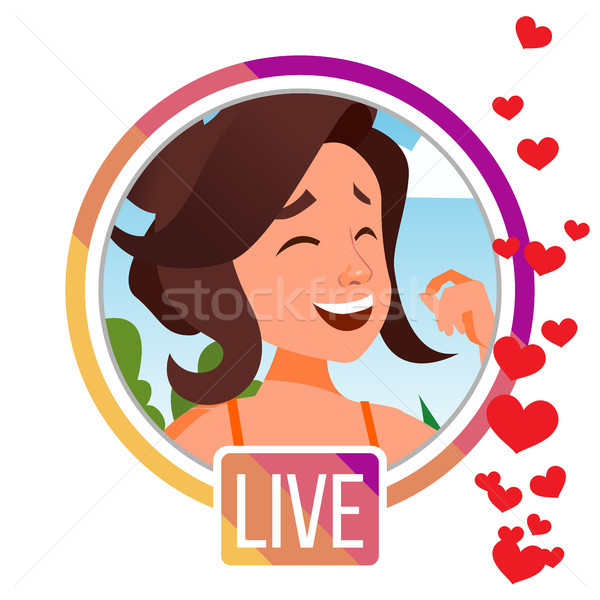 Stories Vector. Girl Streamer. Live Video Streaming. Online Streaming Video. Social Media Concept. A Stock photo © pikepicture