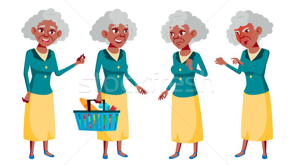 Old Woman Poses Set Vector. Elderly People. Black. Afro American. Senior Person. Aged. Beautiful Ret Stock photo © pikepicture