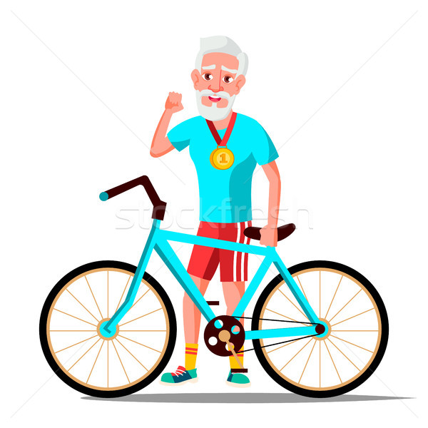 Old Man With Bicycle Vector. City Bike. Outdoor Sport Activity. Eco Friendly. Isolated Illustration Stock photo © pikepicture