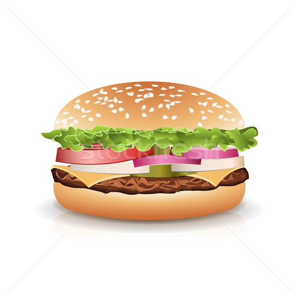Fast food realistisch populair hamburger vector ingesteld Stockfoto © pikepicture