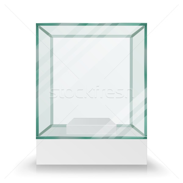 Empty Transparent Glass Box Cube Vector Stock photo © pikepicture