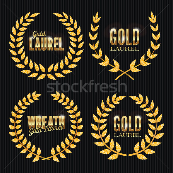 Gold Laurel Vector. Set Shine Wreath Award Design. Place For Text Stock photo © pikepicture