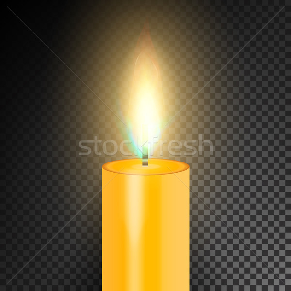 Stock photo: Realistic Burning Dinner Candle. Transparency Grid. Special Effect. Vector illustration