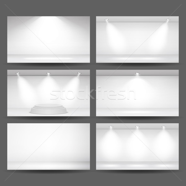 Empty White Photo Studio Interior Background Set. Photo Studio Room. Clean Iight Interior Scene Mock Stock photo © pikepicture