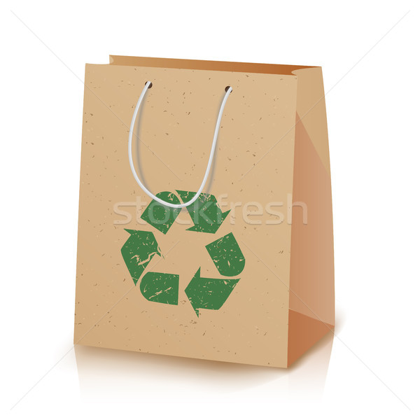 Recycling Paper Bag. Illustration Of Recycled Brown Shopping Paper Bag With Handles That Do Not Caus Stock photo © pikepicture