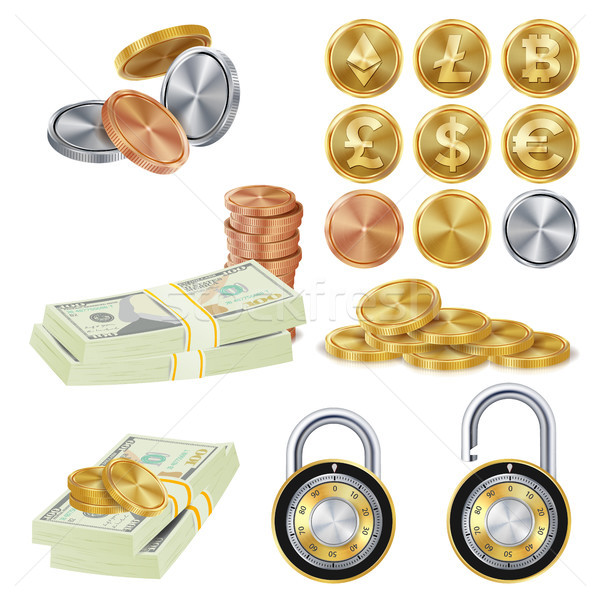 Money Secure Concept Vector. Metal Coin, Money Banknotes Stacks, Encryption Padlock. Dollar, Euro, G Stock photo © pikepicture