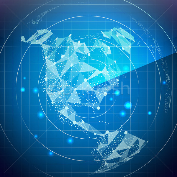 Radar Screen Vector. North America. Digital Screen With World Map. Technology Background. Stock photo © pikepicture