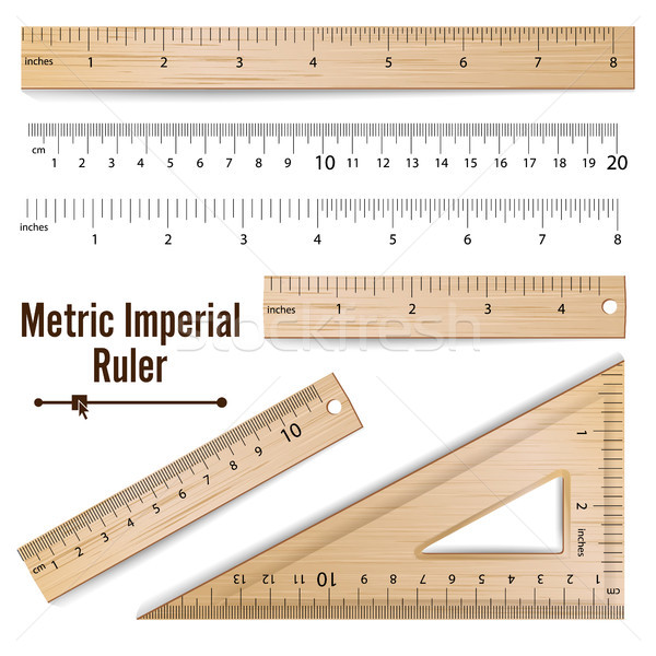 Wooden Metric Imperial Rulers Vector. Centimeter And Inch. Measure Tools Equipment Illustration Isol Stock photo © pikepicture