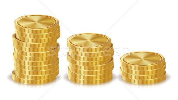 Золотые монеты вектора Финансы иконки знак Сток-фото © pikepicture