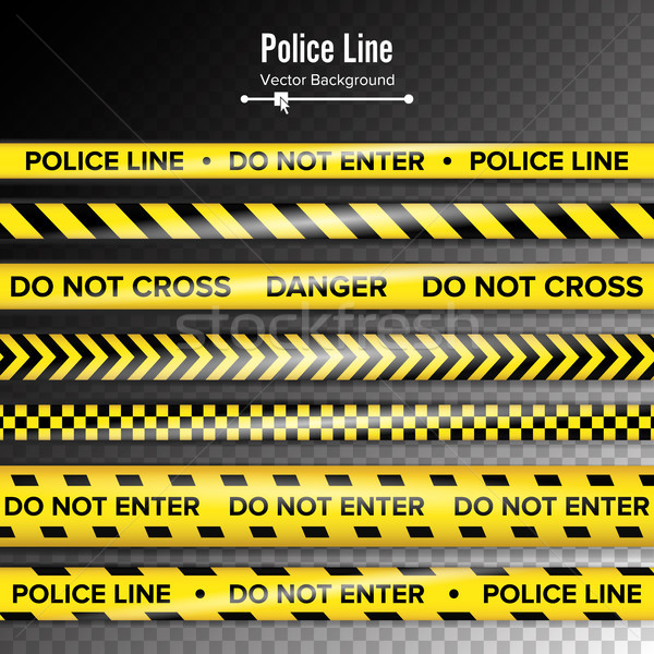Yellow With Black Police Line. Do Not Enter, Danger. Security Quarantine Tapes. Isolated On Transpar Stock photo © pikepicture