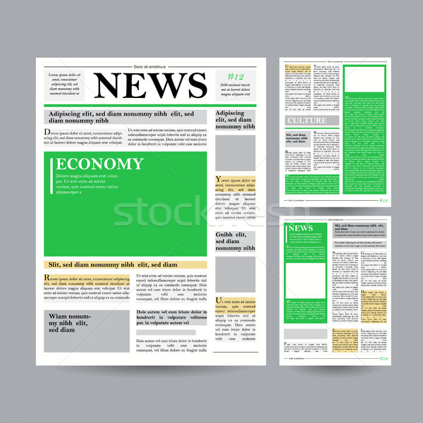 Newspaper Design Template Vector. Financial Articles, Advertising Business Information. World News E Stock photo © pikepicture