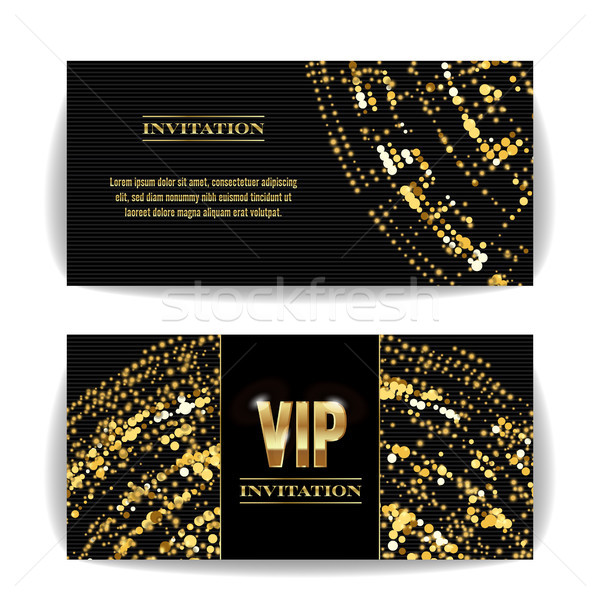 VIP Invitation Card Vector. Sequins Round Dots. Decorative Vector Background. Elegant Template Luxur Stock photo © pikepicture