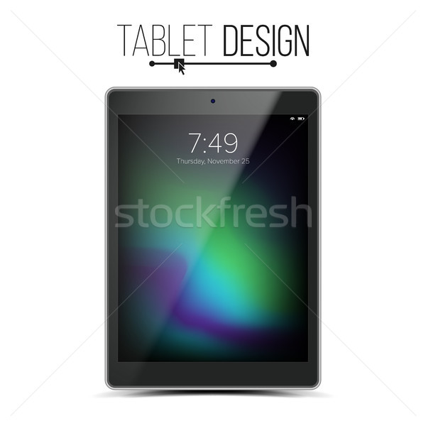 Stock fotó: Tabletta · vázlat · terv · vektor · fekete · modern