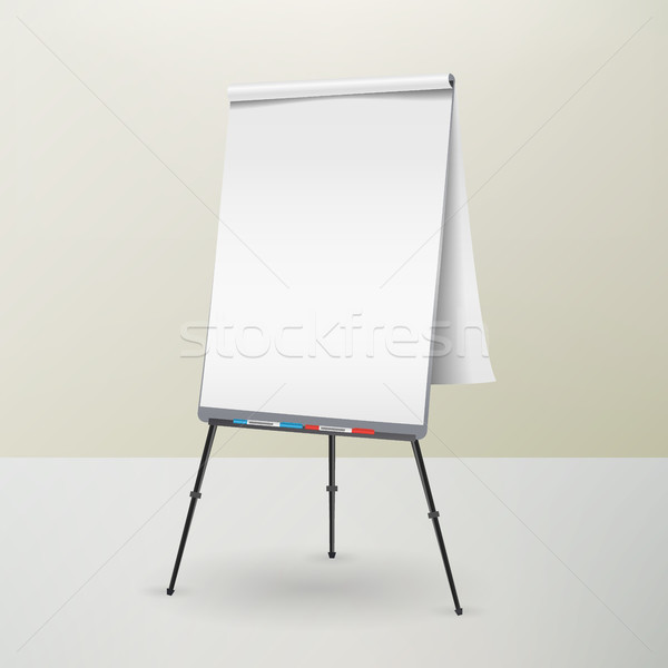 Stock photo: Flip Chart Isolated Vector. Blank Sheet Of Paper On a Tripod. Isolated Illustration