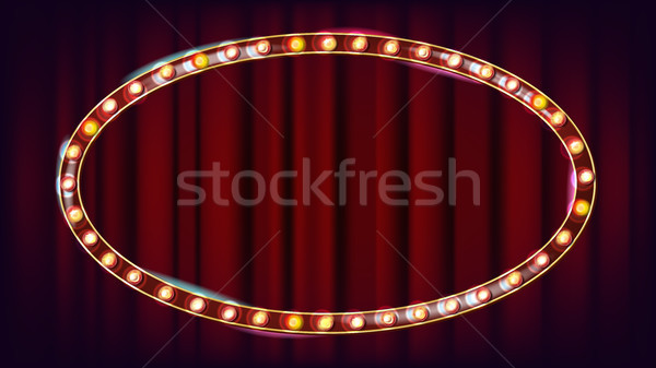 Retro Billboard Vector. Shining Light Sign Board. Realistic Shine Lamp Frame. Carnival, Circus, Casi Stock photo © pikepicture