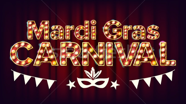 Mardi Gras Carnival Banner Vector. Carnival Vintage Golden Illuminated Neon Light. For Greeting Card Stock photo © pikepicture