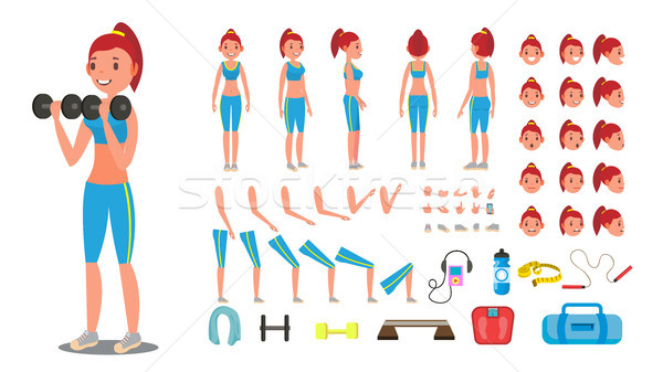Fitness Girl Vector. Animated Sport Female Character Creation Set. Full Length, Front, Side, Back Vi Stock photo © pikepicture